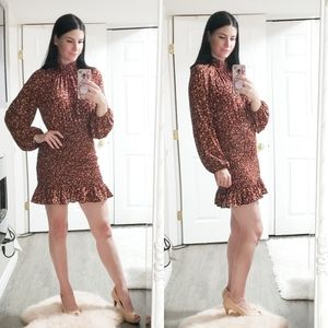 Zara Chintz Floral Smocked Dress M Chiffon
